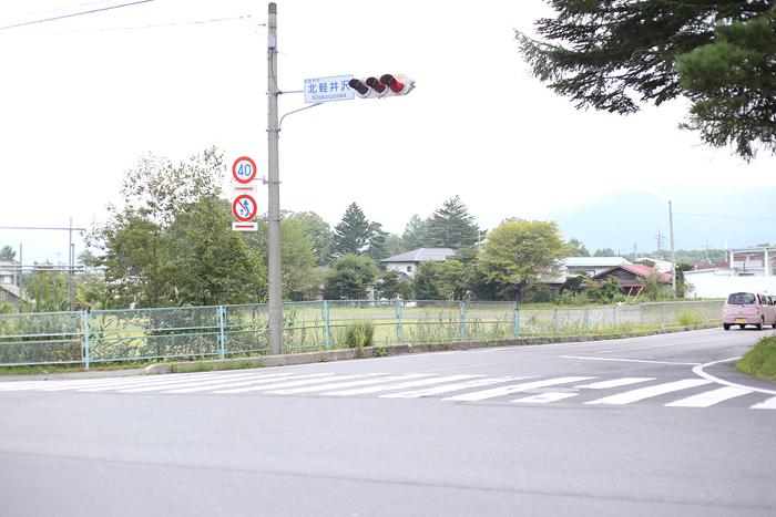 県道4号線へ曲がると駐車場(グラウンド)が目の前に。